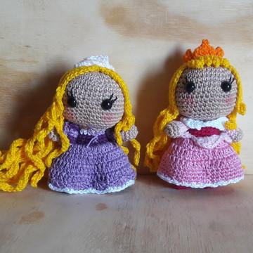 Princesas Aurora e Rapunzel Amigurumi