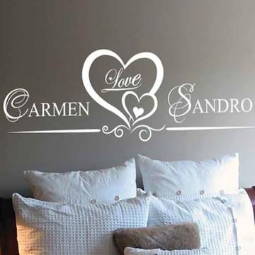 adesivo nome casal para cabeceira de cama