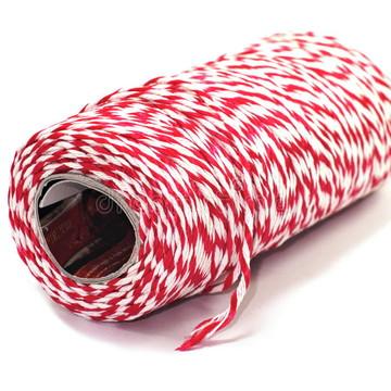 45 metros de cordão twine vermelho e branco