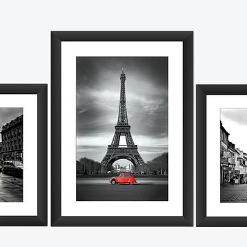 Kit 3 Quadro Paris Torre Eiffel Carro Amarelo Cidade Decor