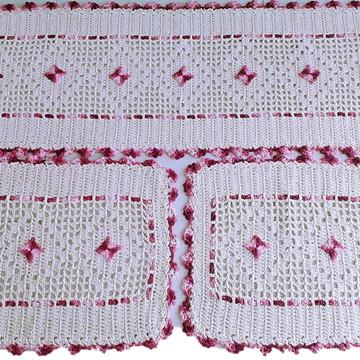 Jogo de Tapetes para Cozinha de Crochê em Barbante 3 peças