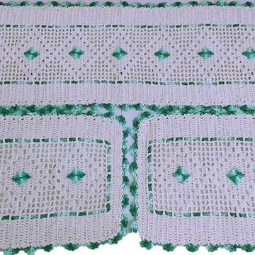 Jogo de Tapetes para Cozinha de Crochê em Barbante Verde
