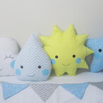 4 Almofadas Nuvem Gota Sol Estrela + bandeirolas