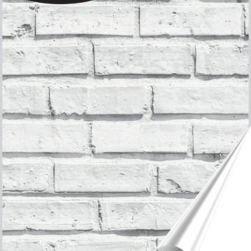 Papel de Parede Adesivo Tijolo Branco Acinzentado