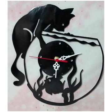 Relógio de parede Gato no aquário
