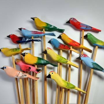 Espetos de passarinho P diversos - Madeira - 5 unidades