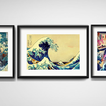 3 Quadros Arte Oriental Japão Onda Decoração com Paspatur