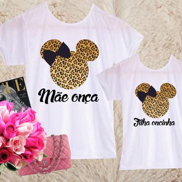 02 camisetas - Mãe e filha Minnie oncinha