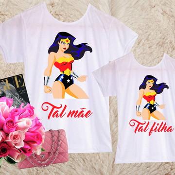 02 camisetas - Mãe e filha - Mulher maravilha