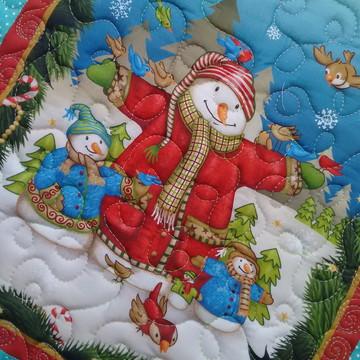 Painel Patchwork de Natal Bonecos de nev