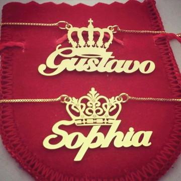 Colar Nome Personalizado com Coroa Superior