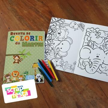 Revista Colorir + Giz de Cera Festa Safari