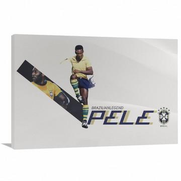 Quadro decorativo Pelé Rei do Futebol com Tela de Tecido
