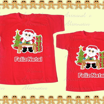 Kit 2 camisetas feliz natal papai noel presentes