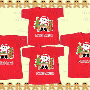 Kit 4 camisetas feliz natal papai noel presentes