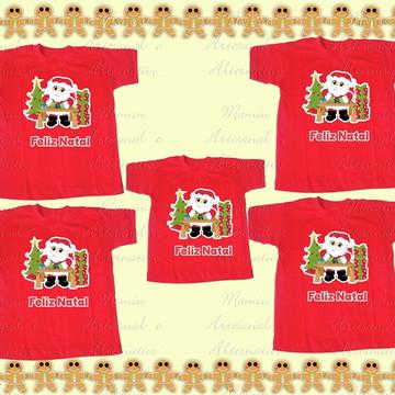 Kit 5 camisetas feliz natal papai noel presentes