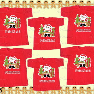 Kit 6 camisetas feliz natal papai noel presentes