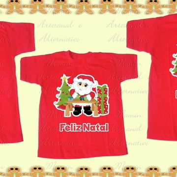 Kit 3 camisetas feliz natal papai noel presentes