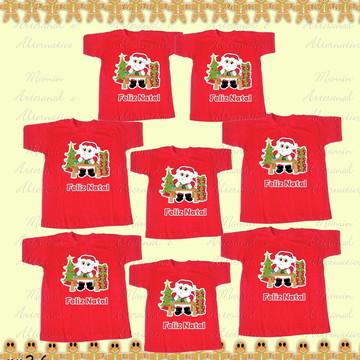 Kit 8 camisetas feliz natal papai noel presentes
