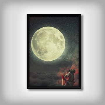 "Quadro ""Lua"" Abstrato"