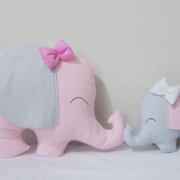 Kit 2 Almofadas Elefantinhos Mamãe e Bebê em Rosa e Cinza