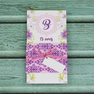 Convite de 15 anos debutante floral roxo- 207B