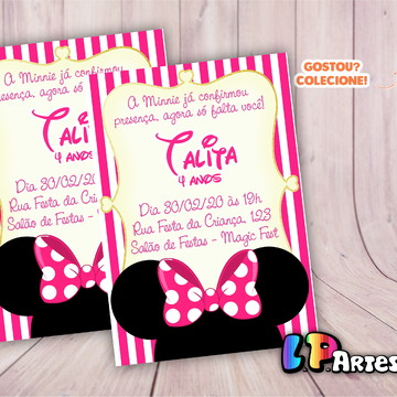 Convite de aniversário - Minnie Rosa