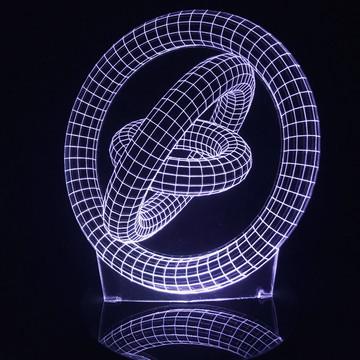 Luminária Led 3d Círculos Girando Acrílico Abajur