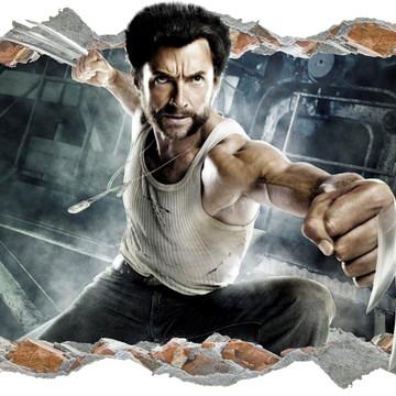 Adesivo Parede Buraco Wolverine Logan Marvel Quarto Filho 3d