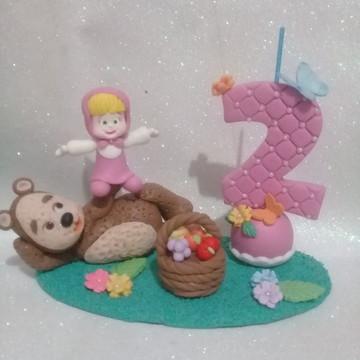 Topo de bolo da Masha e o urso de biscuit