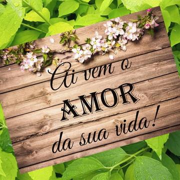 Placa Casamento PVC - Fundo Madeira - Flores
