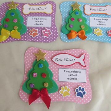 Cartão de Natal pet Cães e Gatos