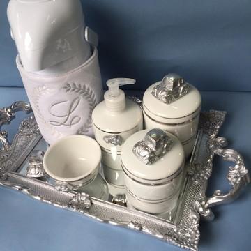 Kit Higiene Bebê Prata Luxo
