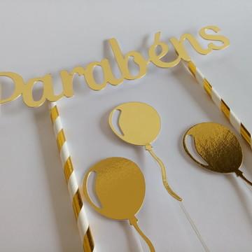 Topo de Bolo Parabéns Dourado