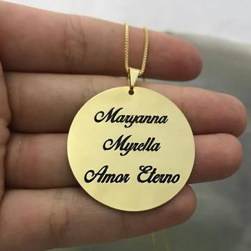 Colar Mandala com Escrita Personalizada com Nomes ou Frase