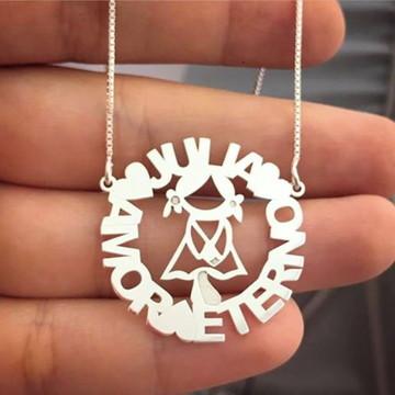 Colar Mandala de Filhos Simples Com Nomes Personalizados