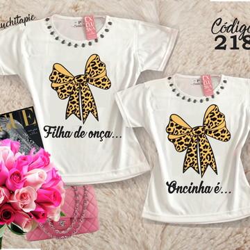 02 camisetas - Mãe e filha Laço Oncinha