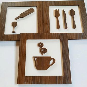Kit de quadros Decorativos para cozinha 3 peças com 30x30cm