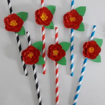 10 CANUDOS DE PAPEL COM FLOR