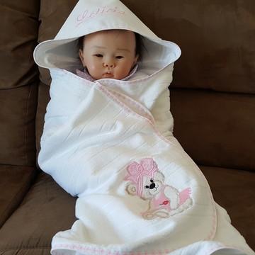Toalha Bebê Capuz Forrada Fralda Nome Personalizado