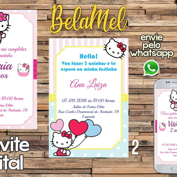 Convite Digital Hello Kitty para Whatsapp e Facebook