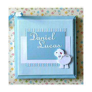Diário Livro do Bebê Personalizado ovelhinha scrap menino