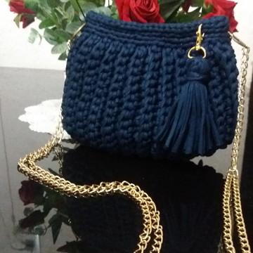 49624044d Bolsa Azul Marinho Croche em Fio de Malha com Alca de Couro | Elo7