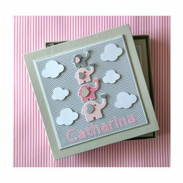 Livro bebê menina com caixa elefantinho rosa cinza chevron