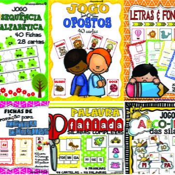 Pacote 4 | 6 Jogos Pedagógicos P/ Atividade De Alfabetização