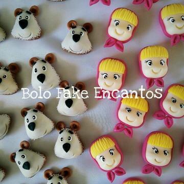 Lembrancinhas masha e o urso biscuit ( Apliques )