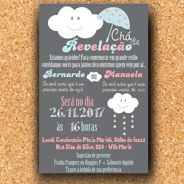 Convite Chá Revelação Nuvem (digital)