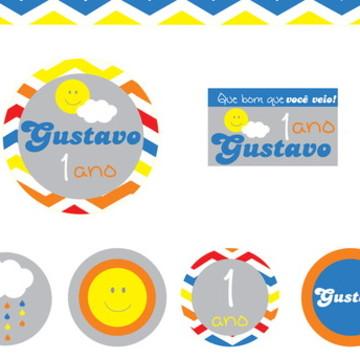 Kit digital Festa Sol e Nuvem Colorido