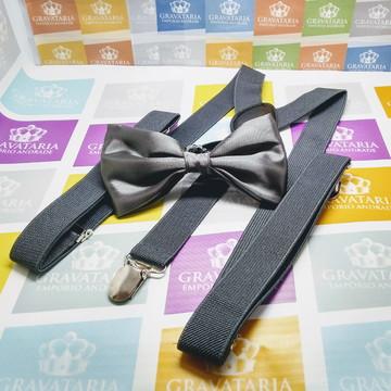 suspensório + gravata borboleta cinza chumbo