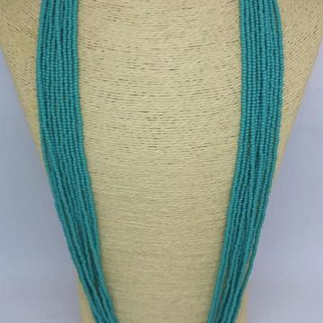 Maxi colar longo de miçanga turquesa